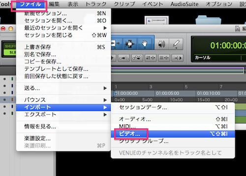ファイル>ビデオ>