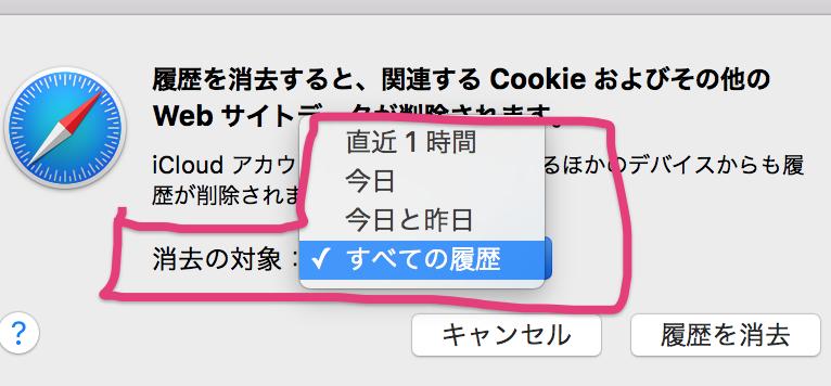 safari履歴・クッキー削除③