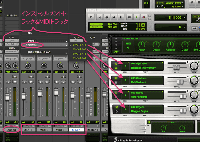 MIDIチャンネル割り当て