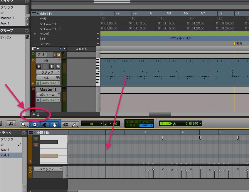 MIDIウィンドウ表示-2min