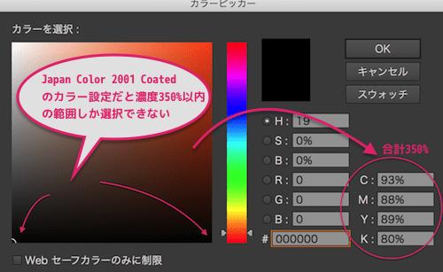 Japan Color 2001 Coatedのカラー設定だと濃度は350%以内しか選択できない