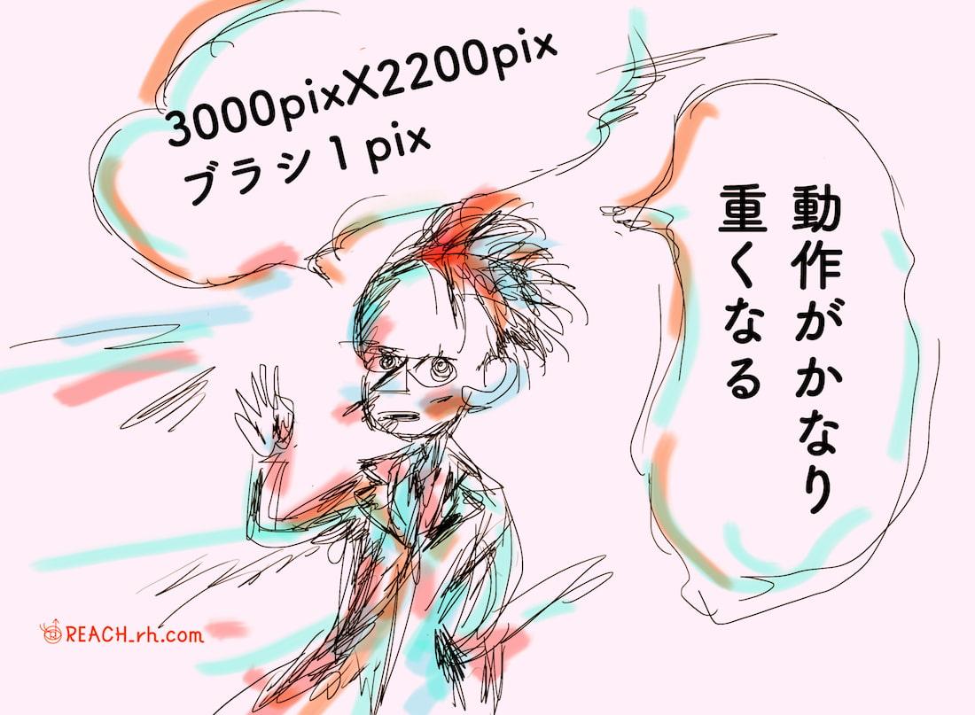 3000pix2200pixでの1pixブラシで描く