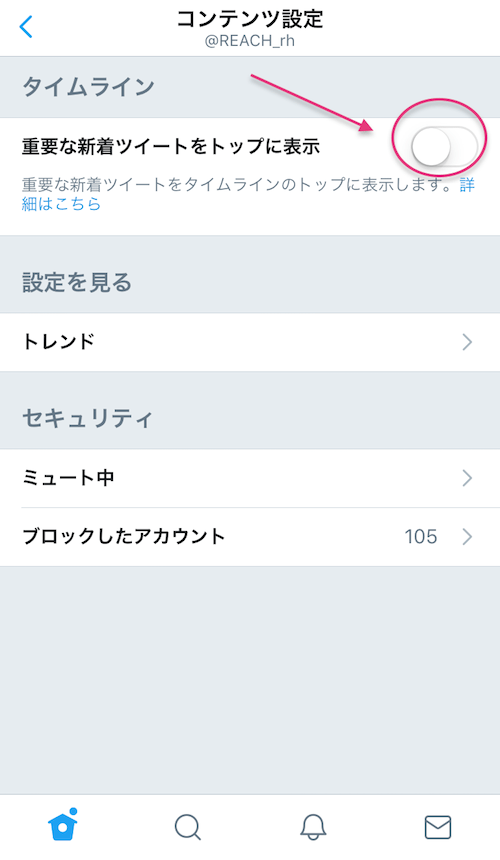 Twitterコンテンツ設定
