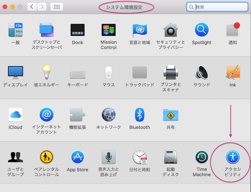 Mac 環境設定>アクセシビリティ