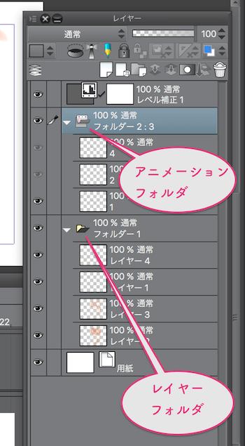 アニメーションフォルダー・レイヤーフォルダー