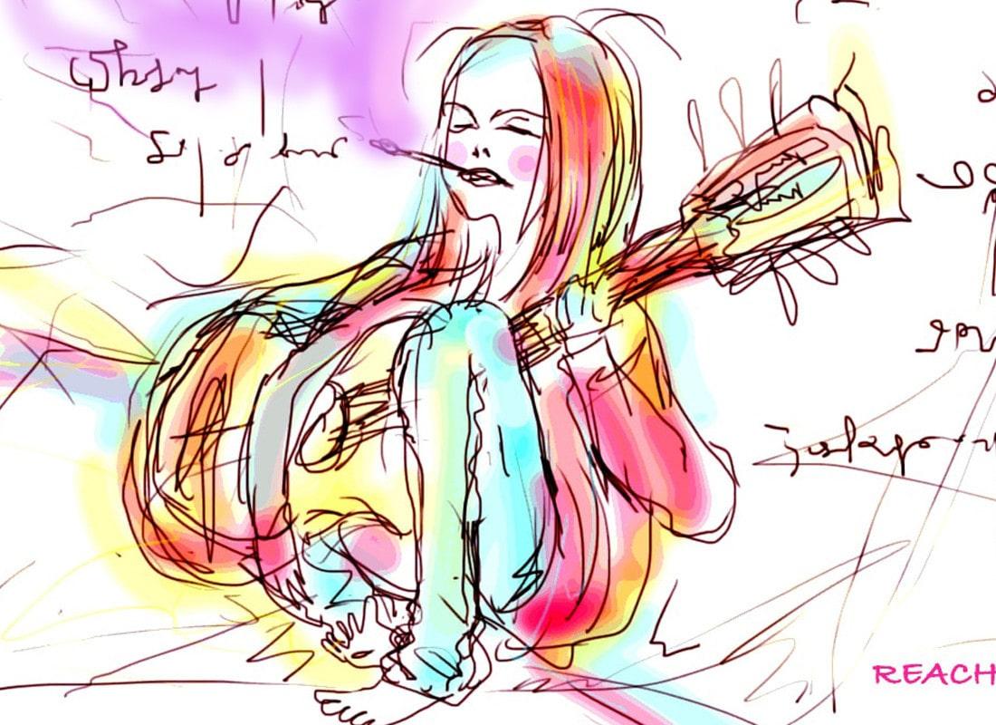 ガットギターを弾く女