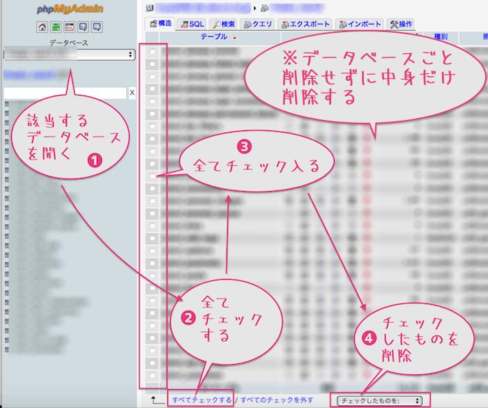 08_旧データベーすの中身を削除